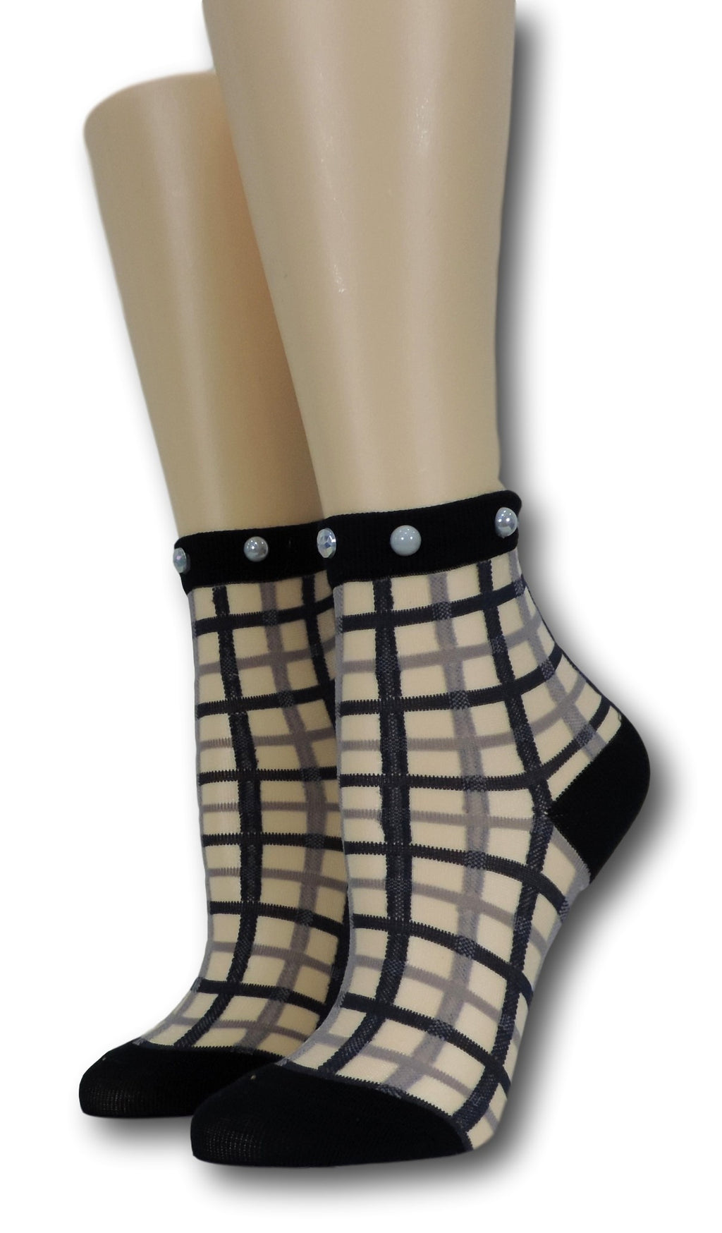 Black Vintage Sheer Socks with beads