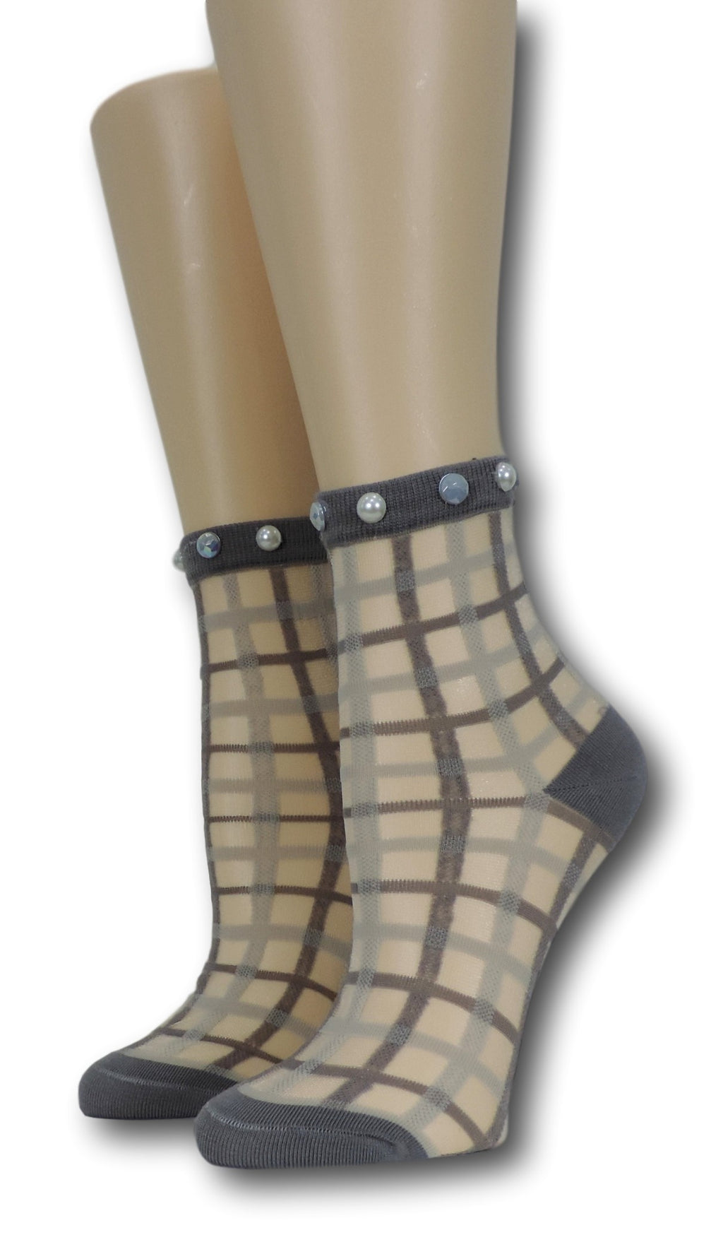 Grey Vintage Sheer Socks with beads