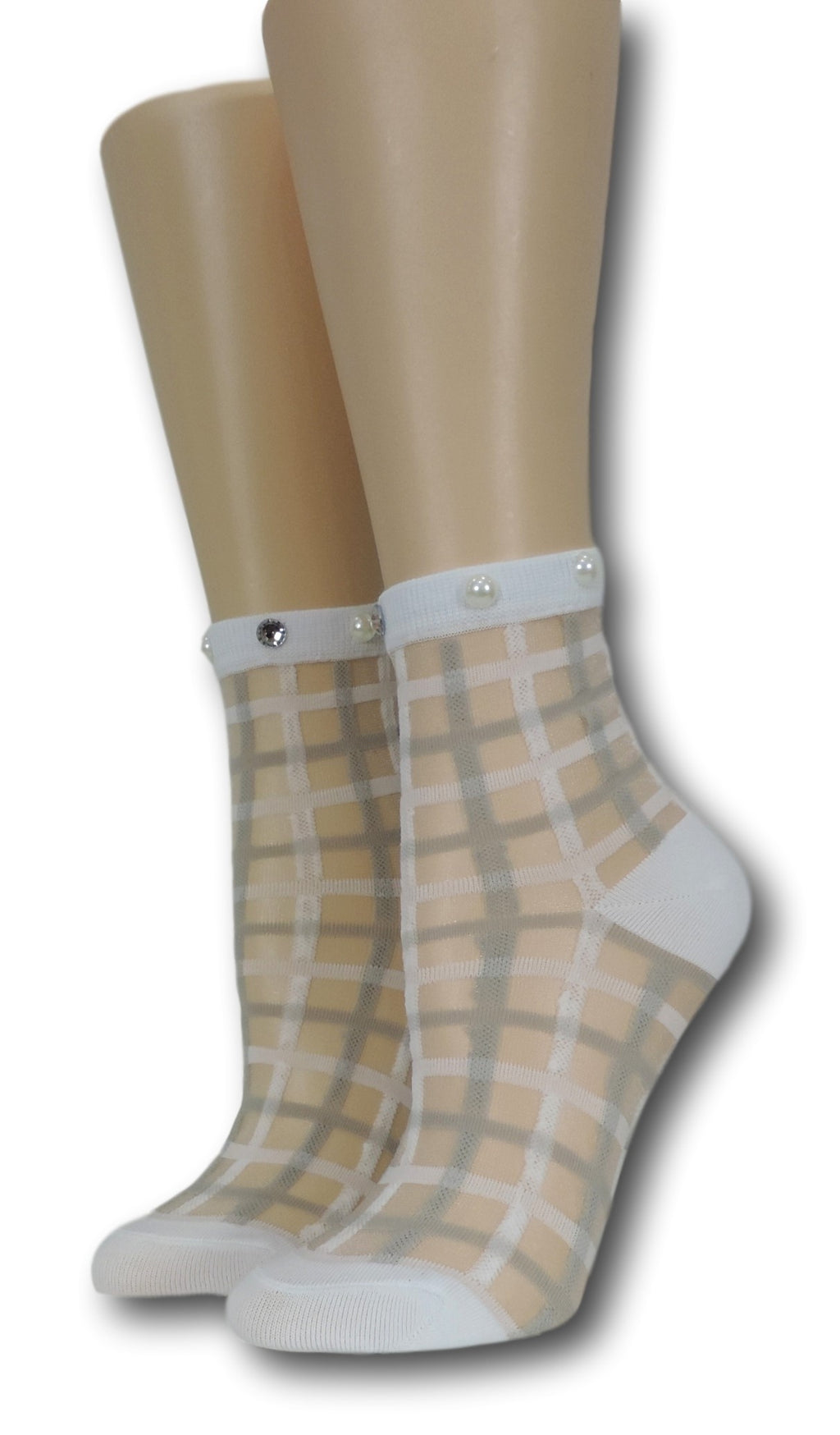 White Vintage Sheer Socks with beads