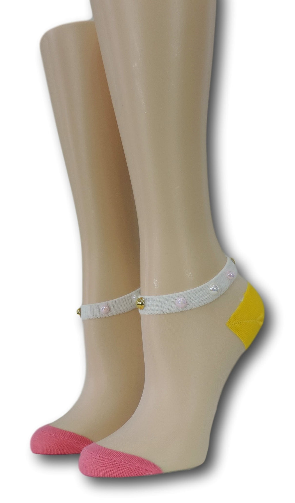 Pink-Yellow Ankle Sheer Socks with beads