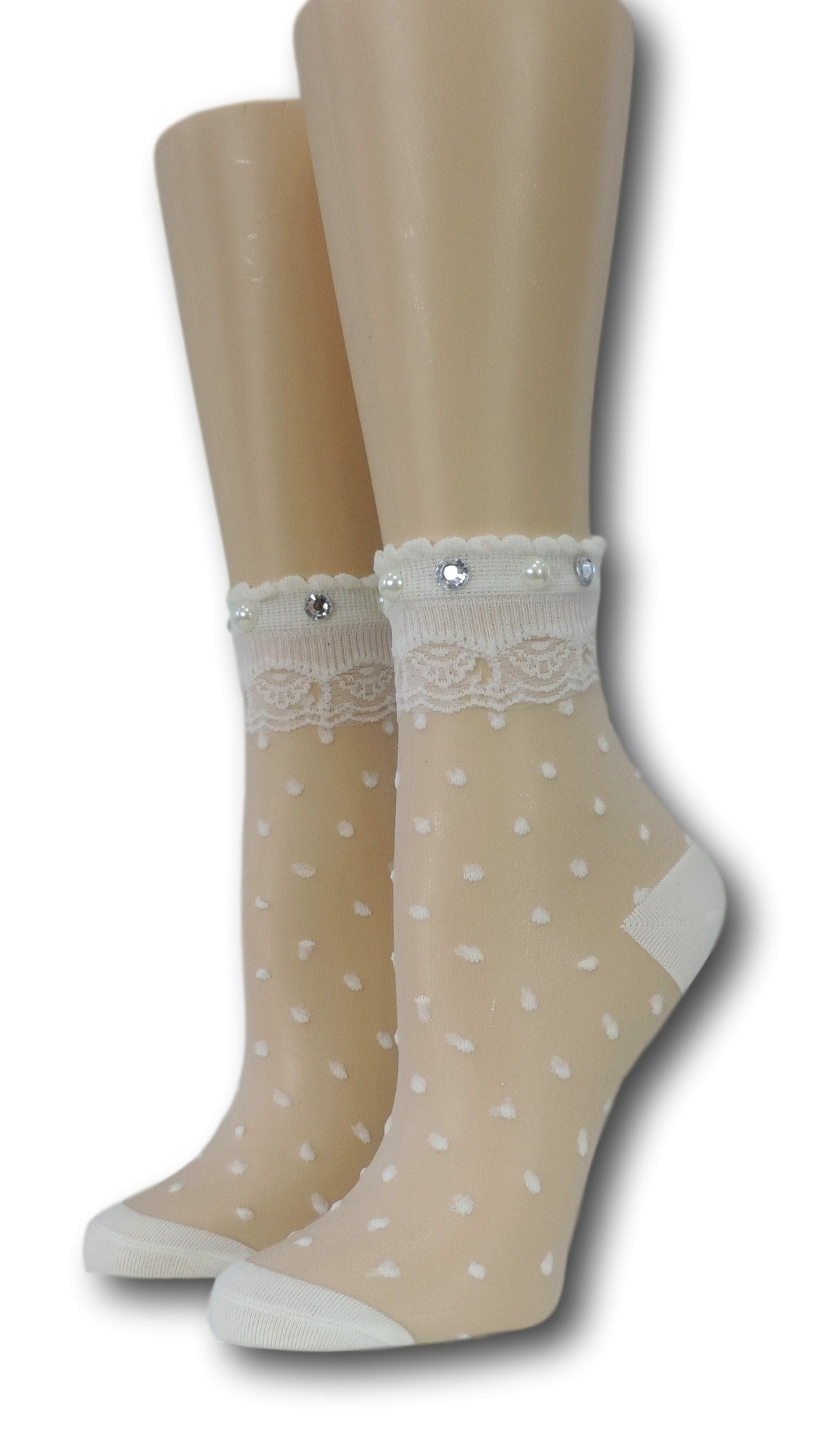 White Royal Dotted Sheer Socks with beads