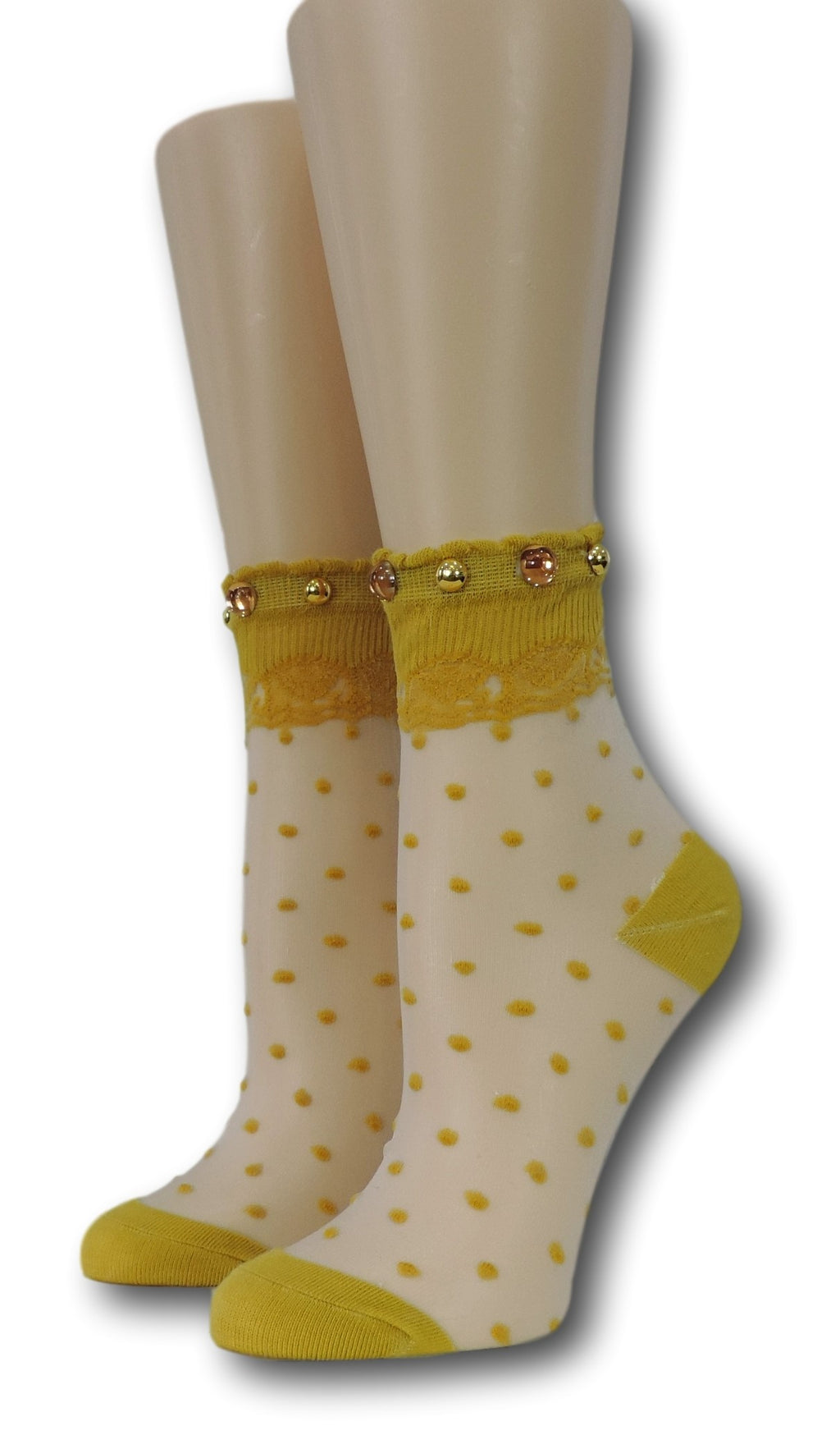 Mustard Royal Dotted Sheer Socks with beads