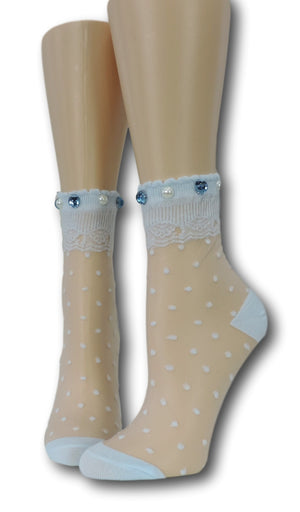 Polka Dotted Sheer Socks with beads