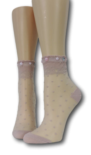 Soft Berry Royal Dotted Sheer Socks with beads