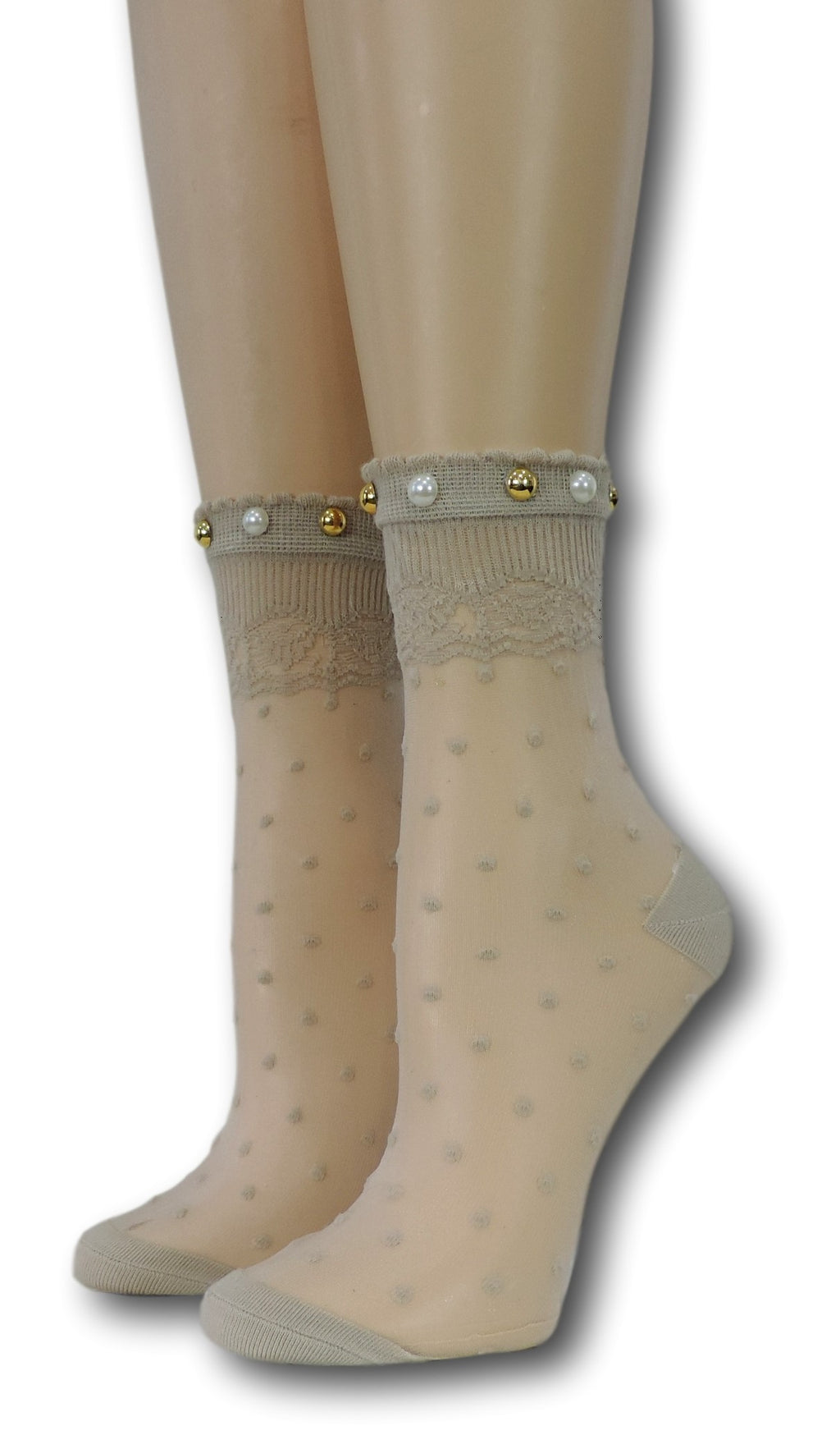 Heavy Cream Royal Dotted Sheer with beads