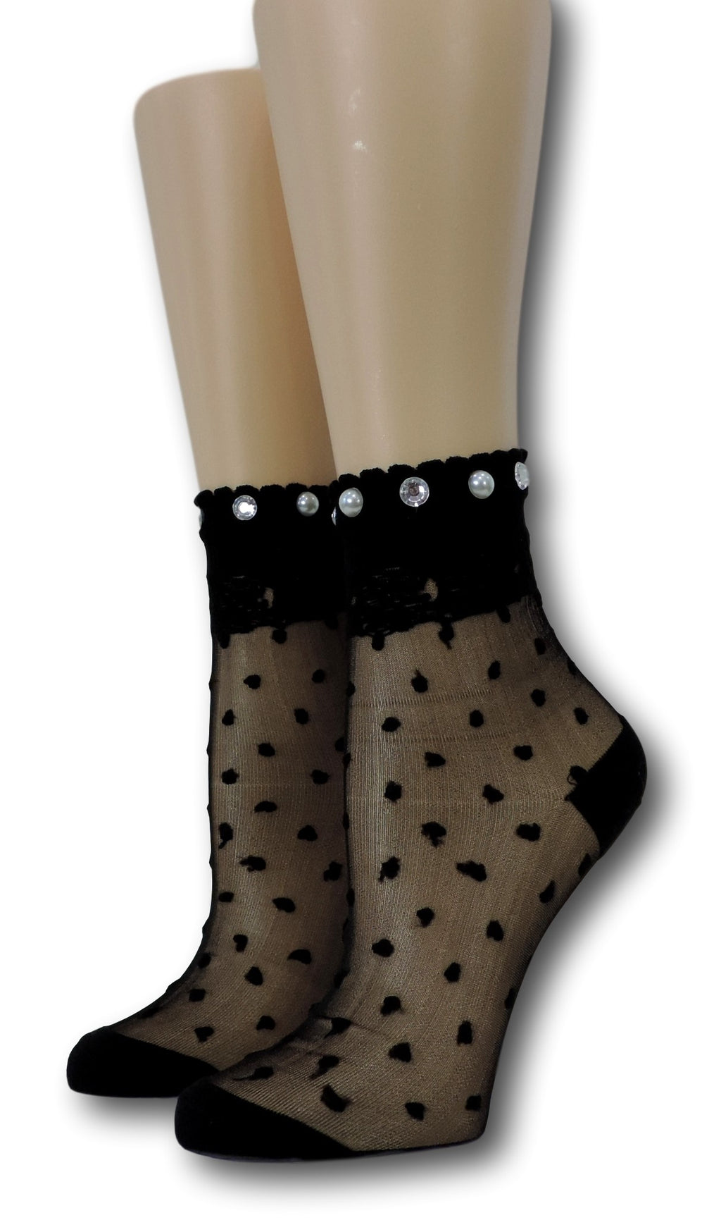 Ivory Royal Dotted Sheer Socks with beads