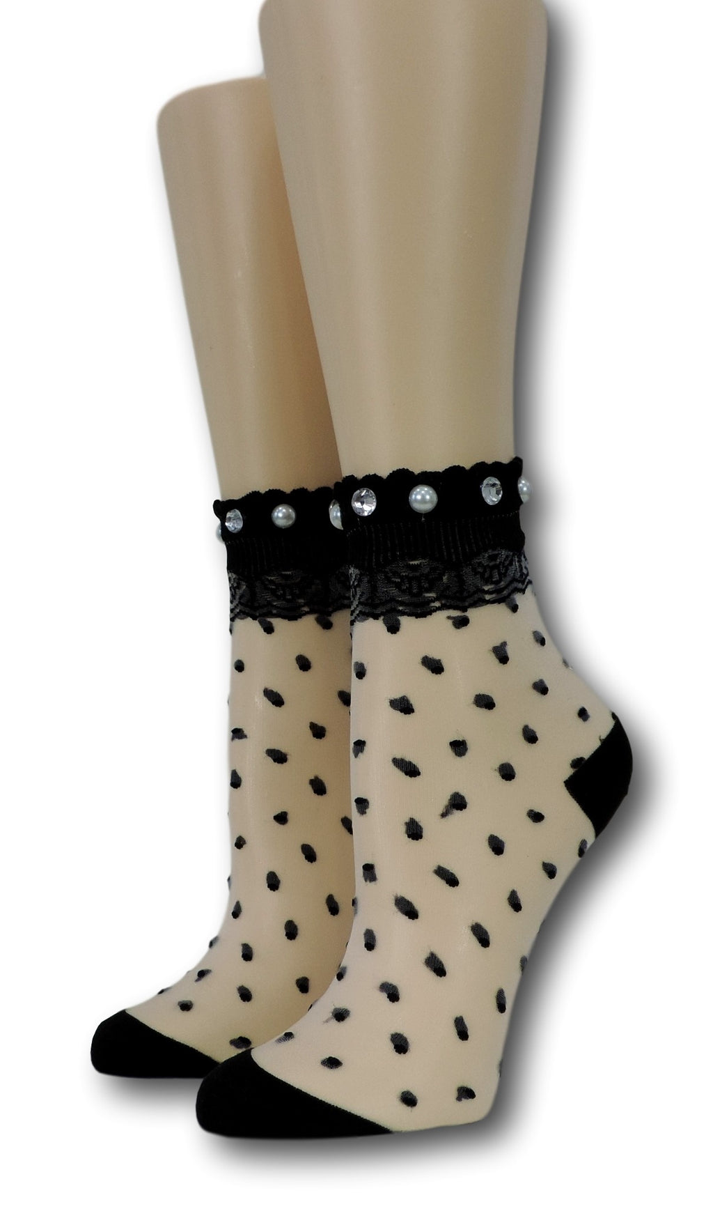 Black Royal Dotted Sheer Socks with beads