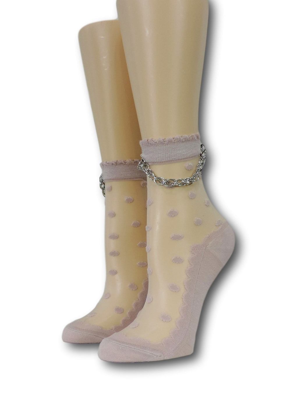 Pink Dotted Hip Hop Socks with Chain