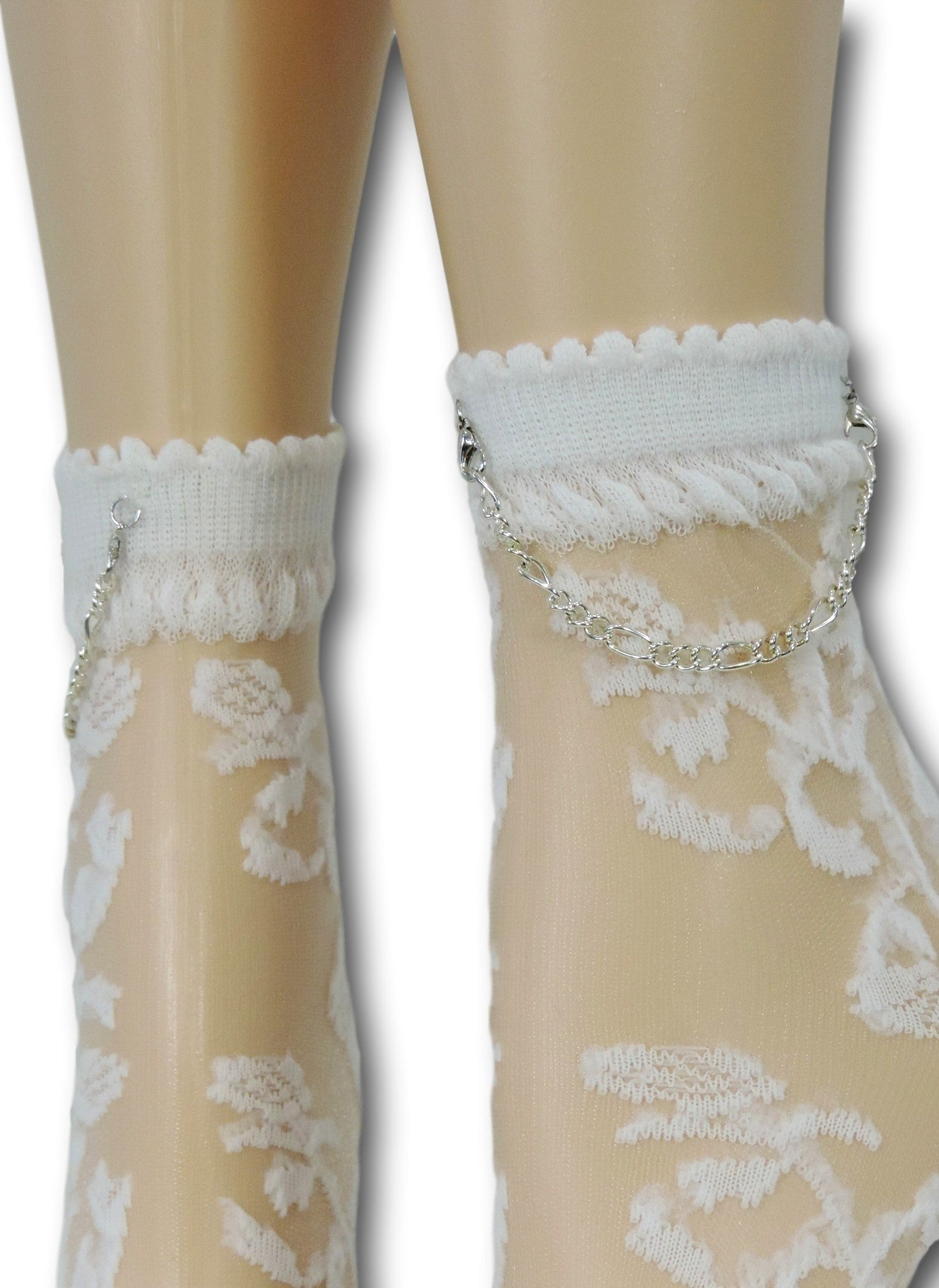 White Floral Hip Hop Socks with Chain