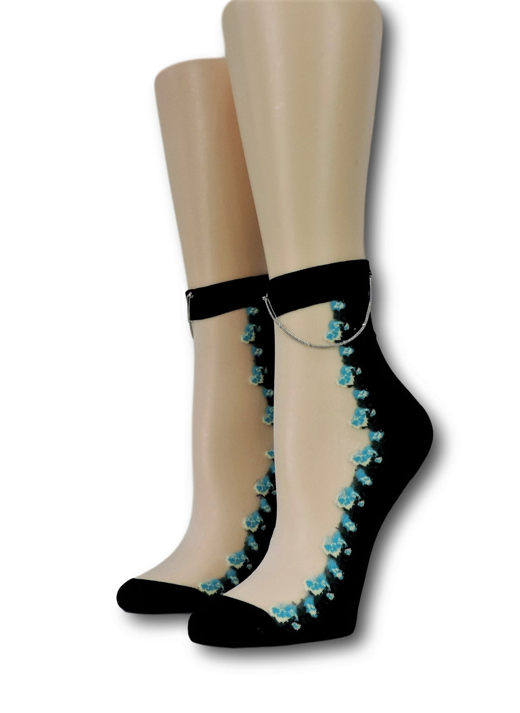 Cute Floral Hip Hop Socks with Chain