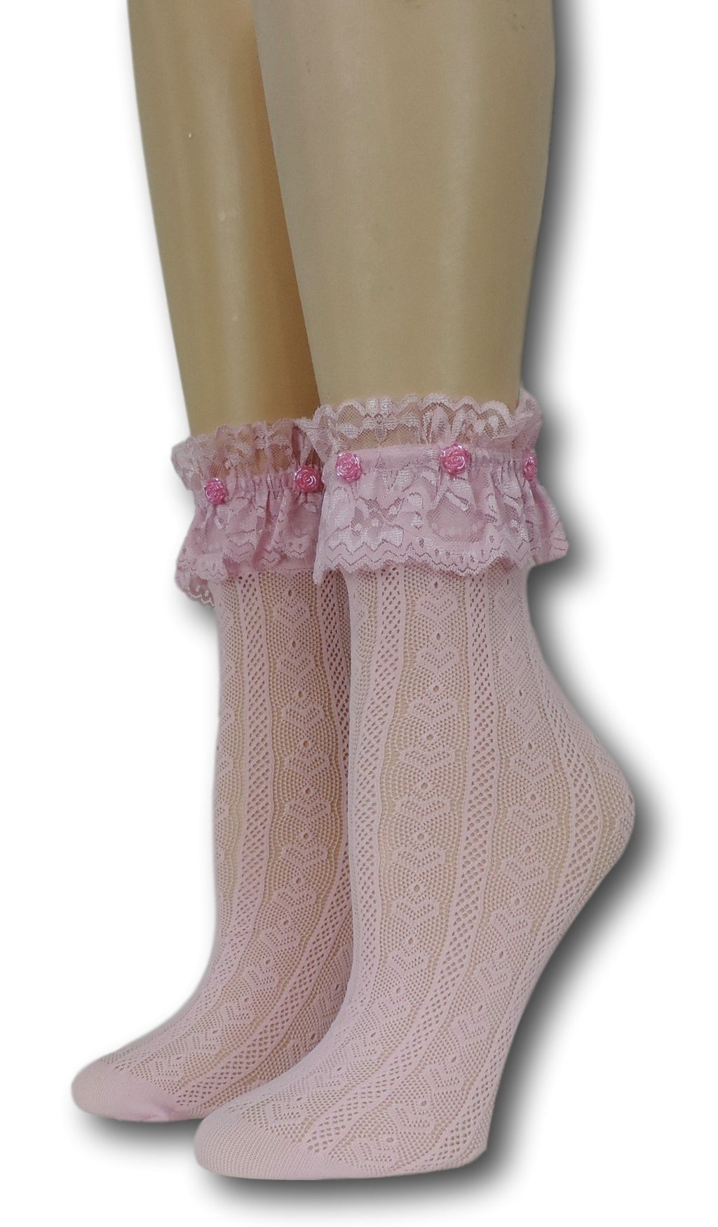 Pink Hearts Frilly Socks with beads
