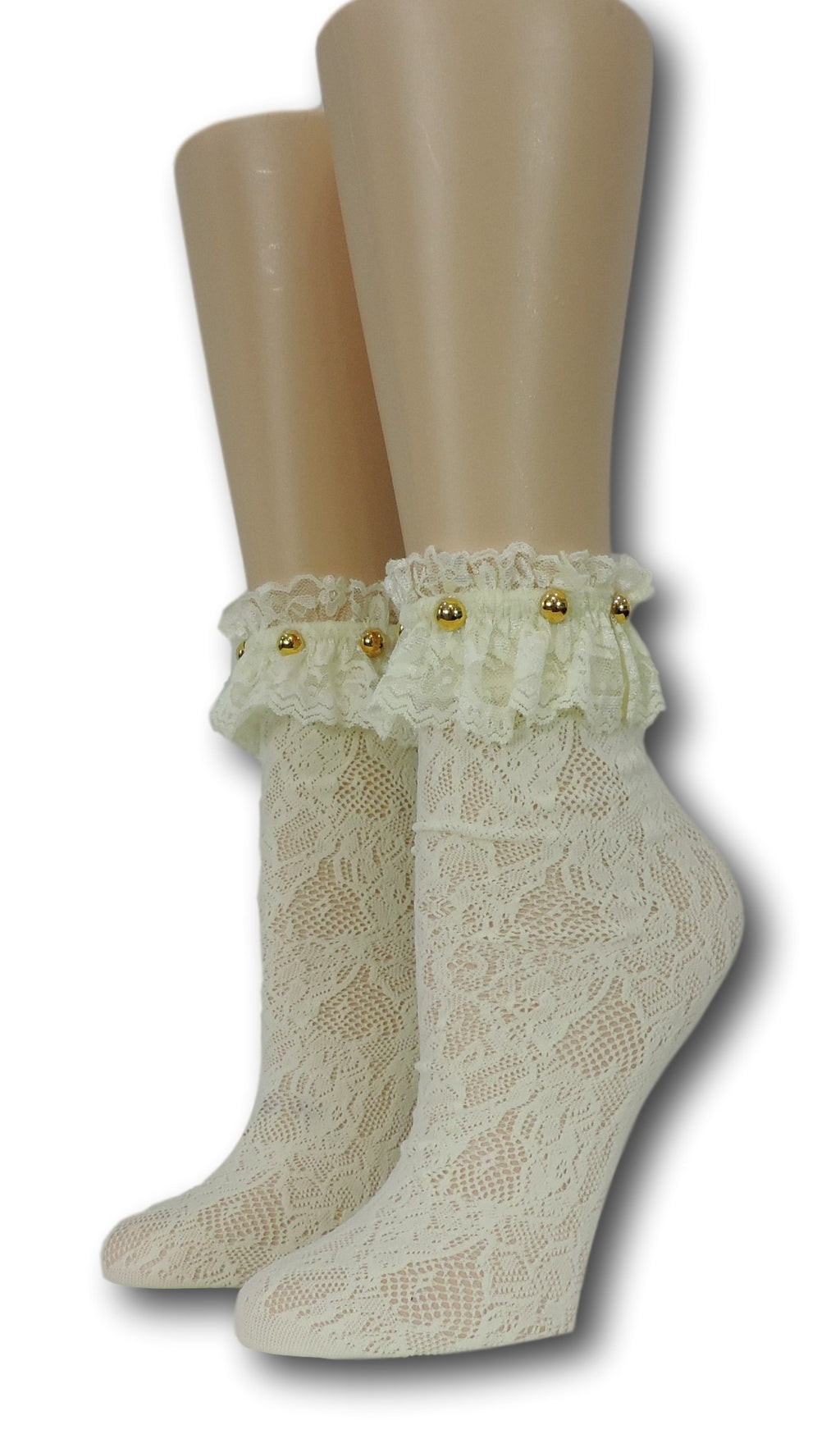 Yellow Floral Frilly Socks with beads