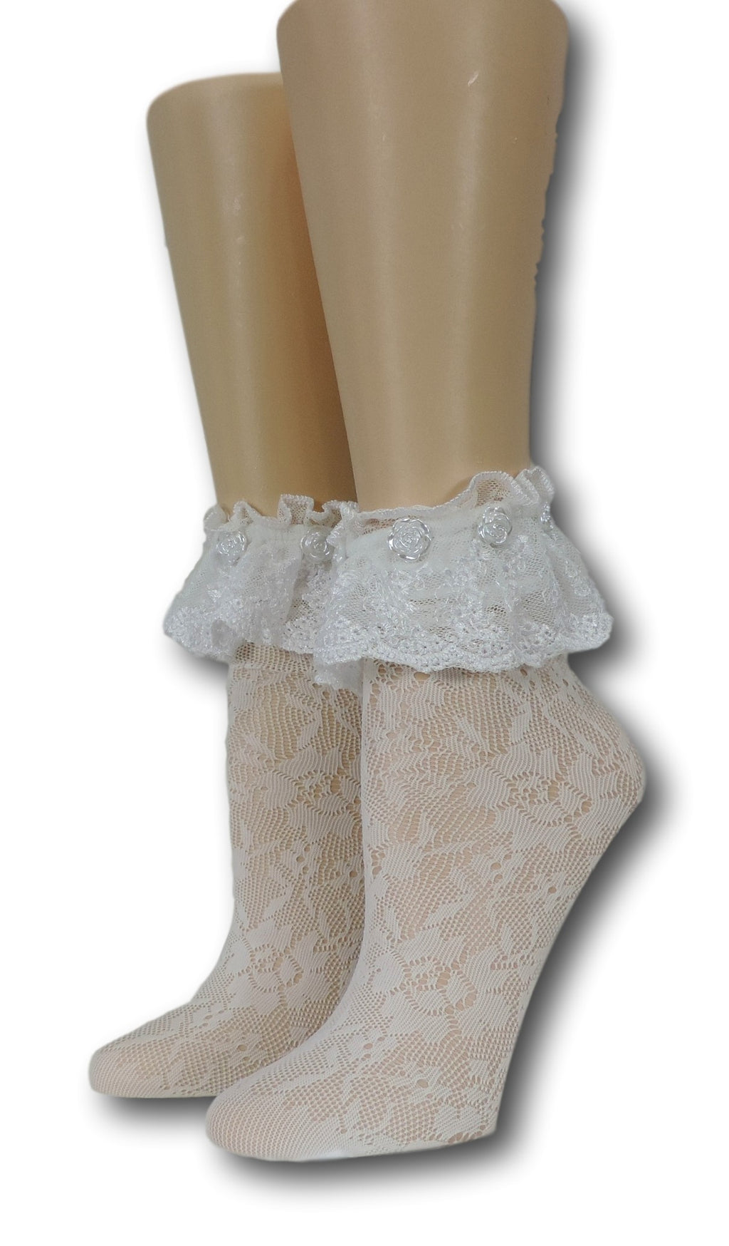 White Floral Frilly Socks with beads
