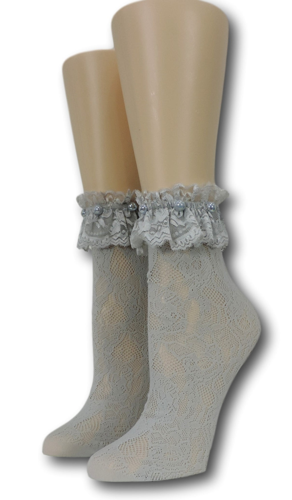 Grey Frilly Socks with beads