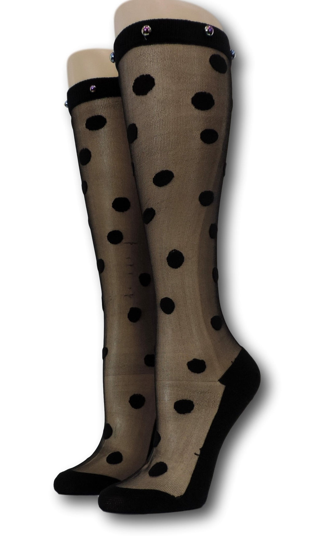 Charcoal Polka Knee High Sheer Socks with beads