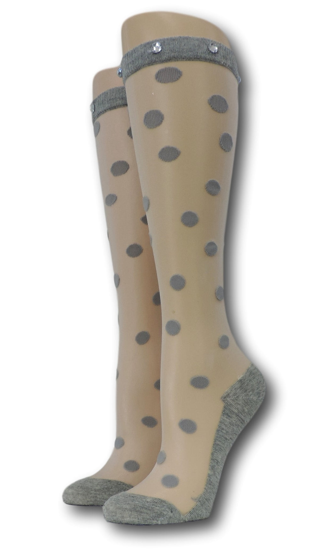 Grey Polka Knee High Sheer Socks with beads