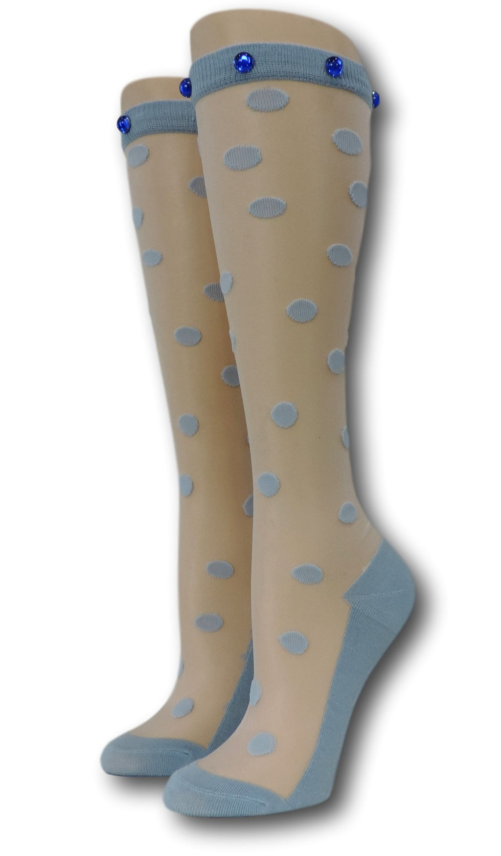 Blue Polka Knee High Sheer Socks with beads