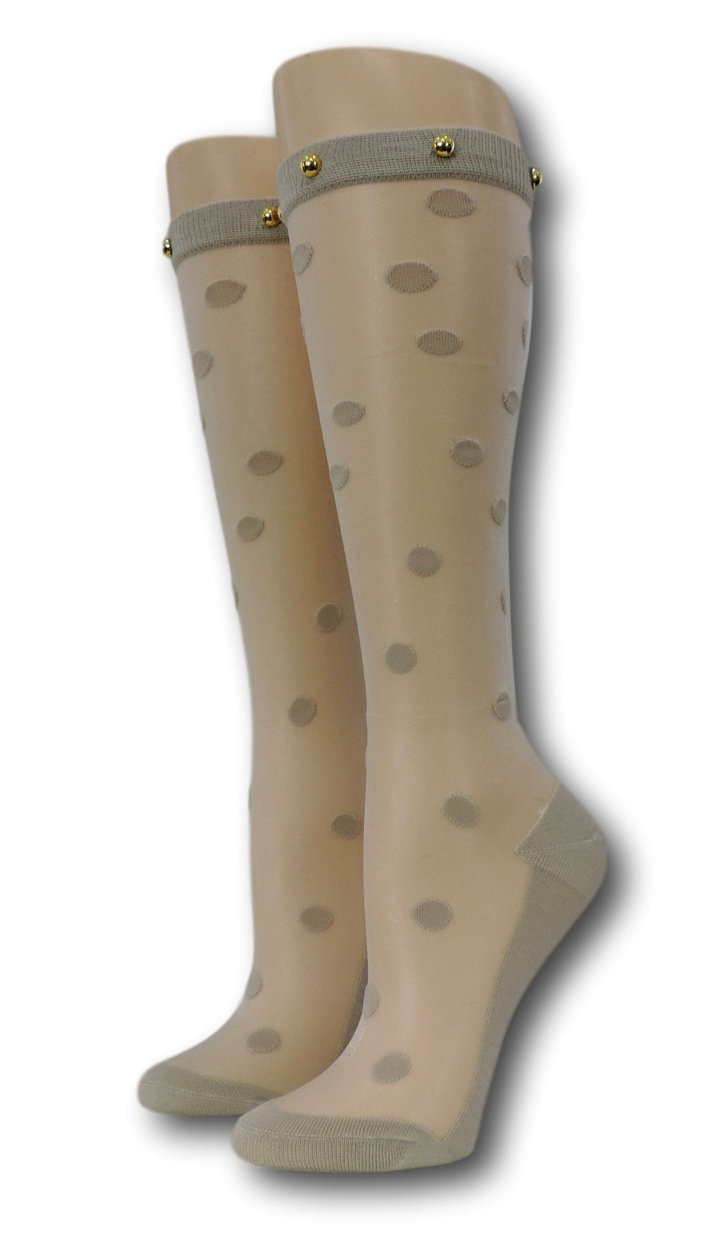 Teal Polka Knee High Sheer Socks with beads