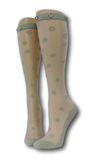 Rhino Polka Knee High Sheer Socks with beads