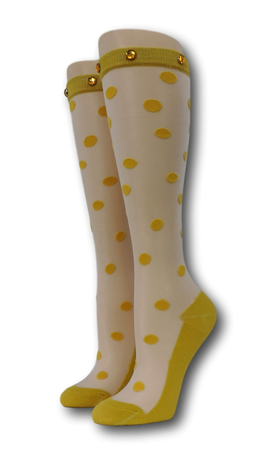 Yellow Polka Knee High Sheer Socks with beads