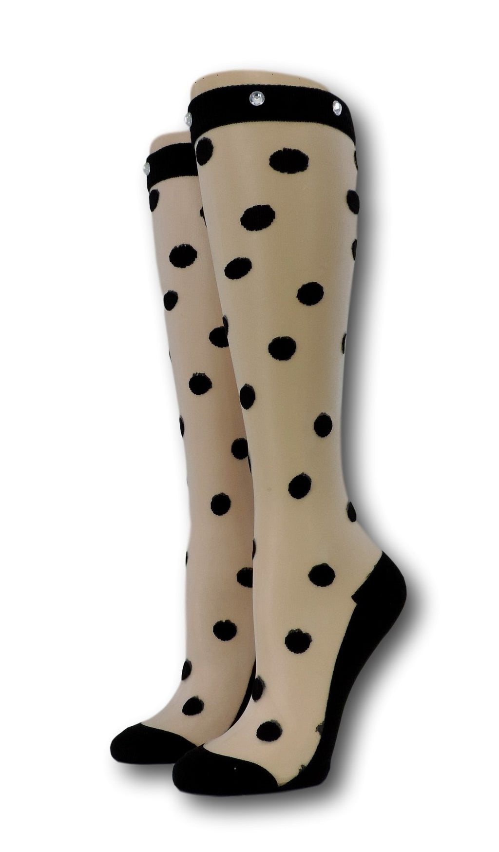 Black Polka Knee High Sheer Socks with beads