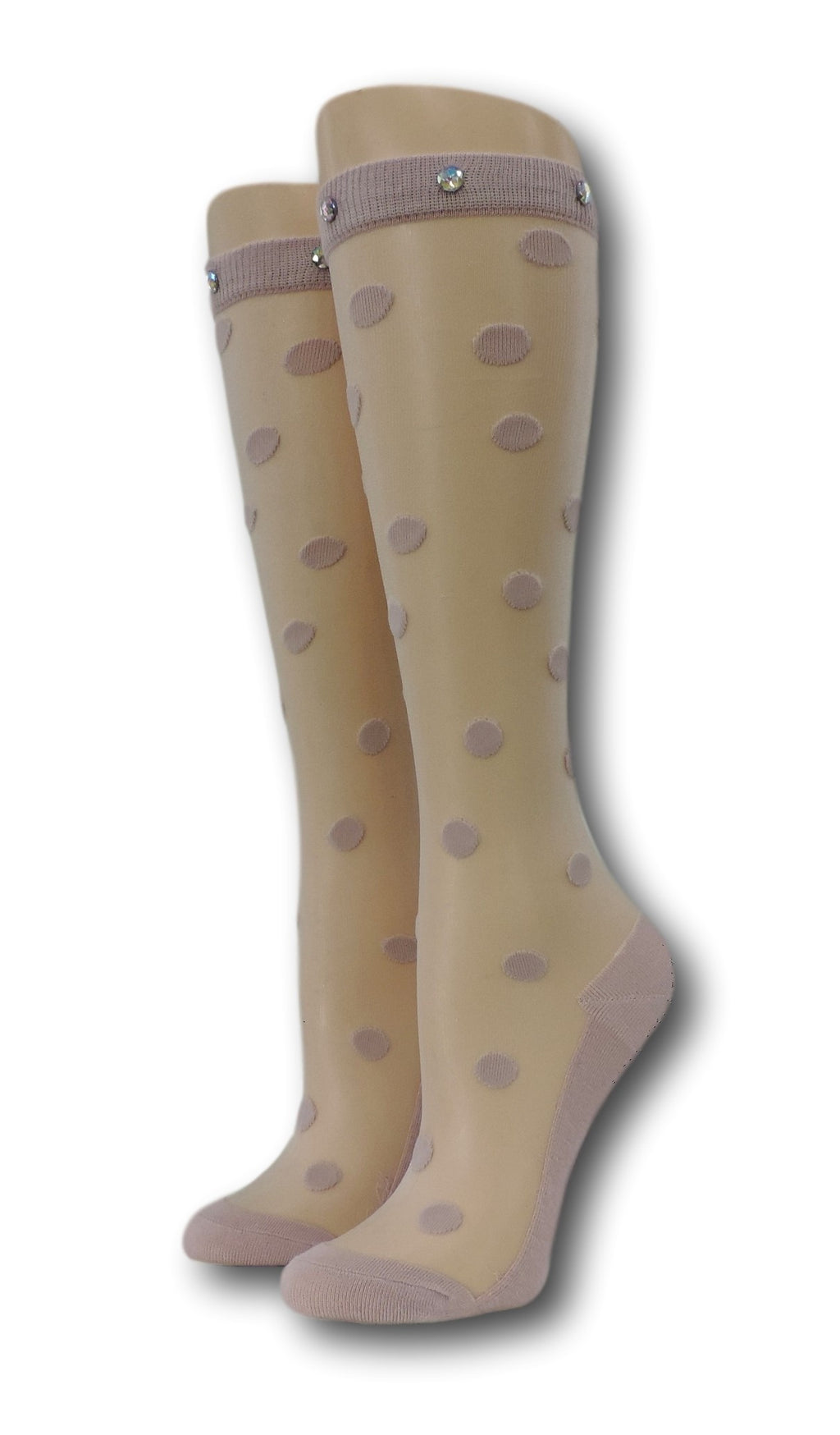 Pink Polka Knee High Sheer Socks with beads