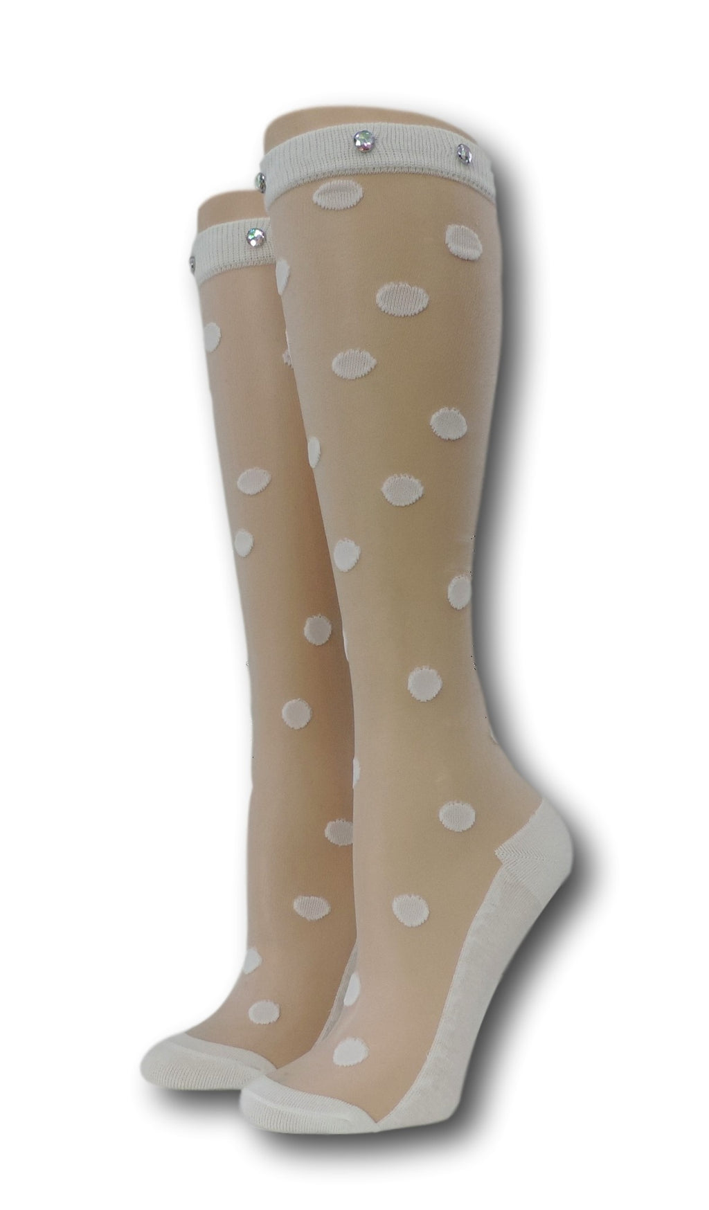 White Polka Knee High Sheer Socks with beads