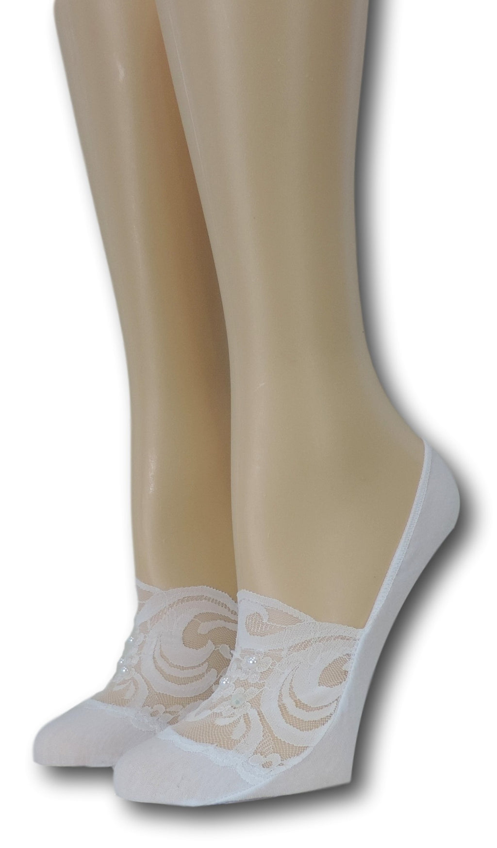Exotic White No Show Sheer Socks with beads