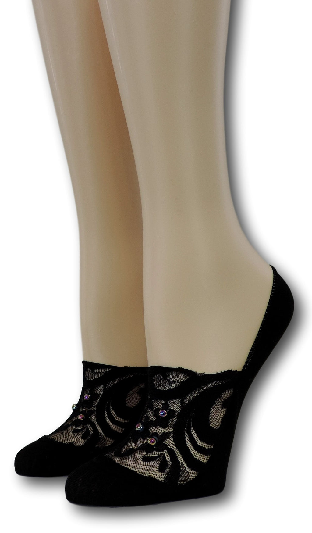Exotic Black No Show Sheer Socks with beads