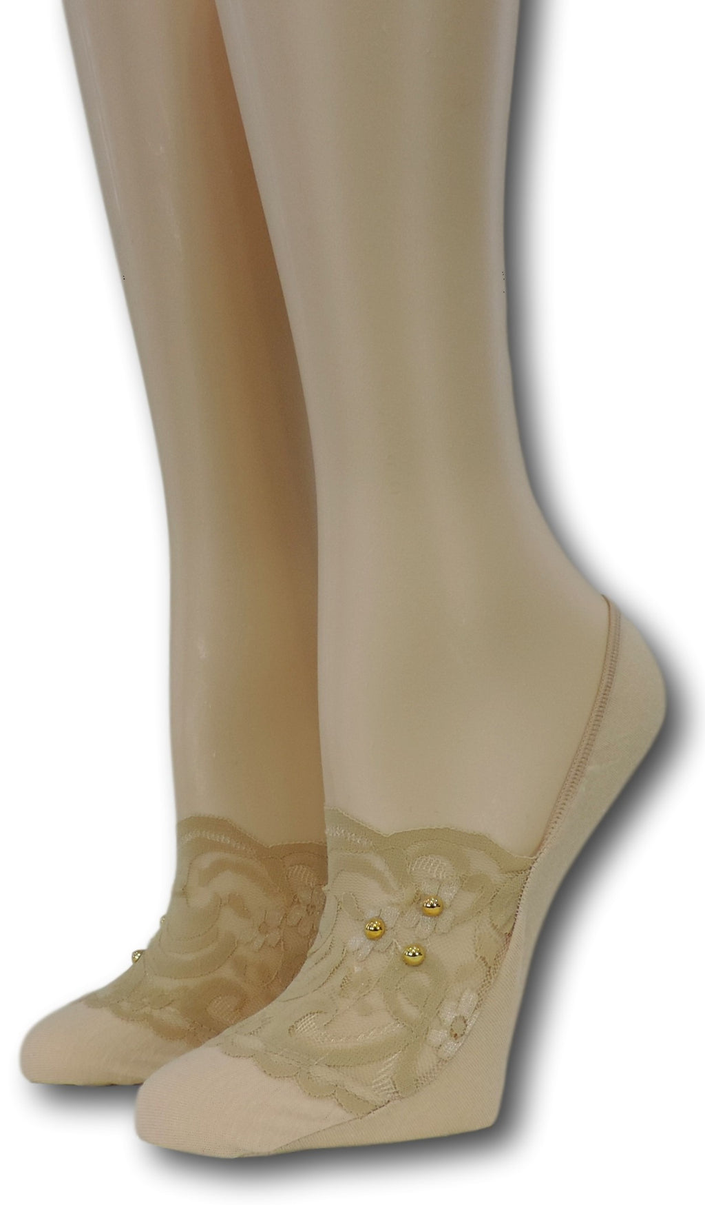 Exotic Beige No Show Sheer Socks with beads