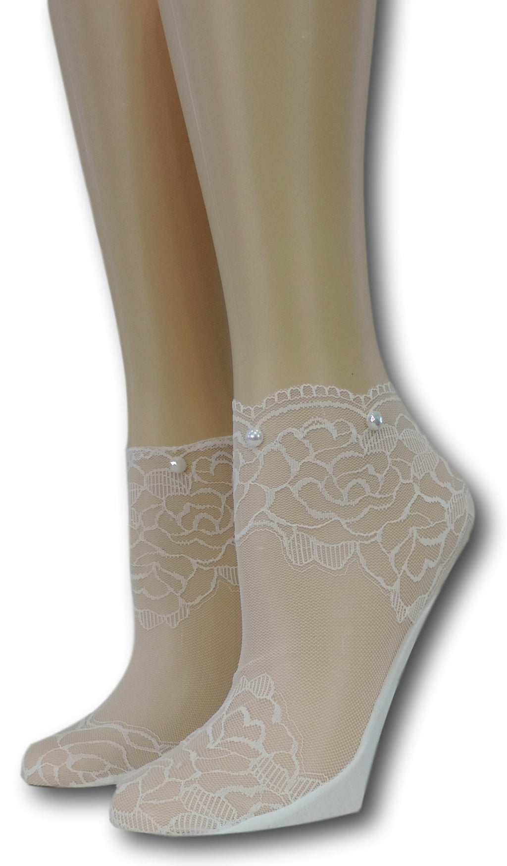 White Rose Ankle Sheer Socks with beads
