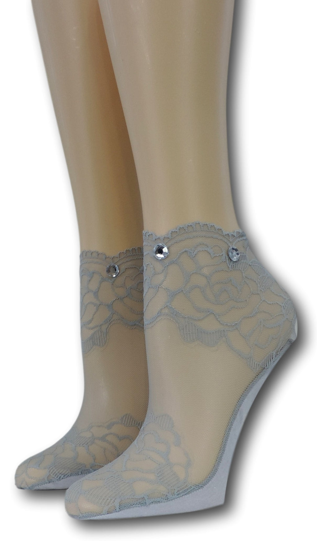Grey Rose Ankle Sheer Socks with beads