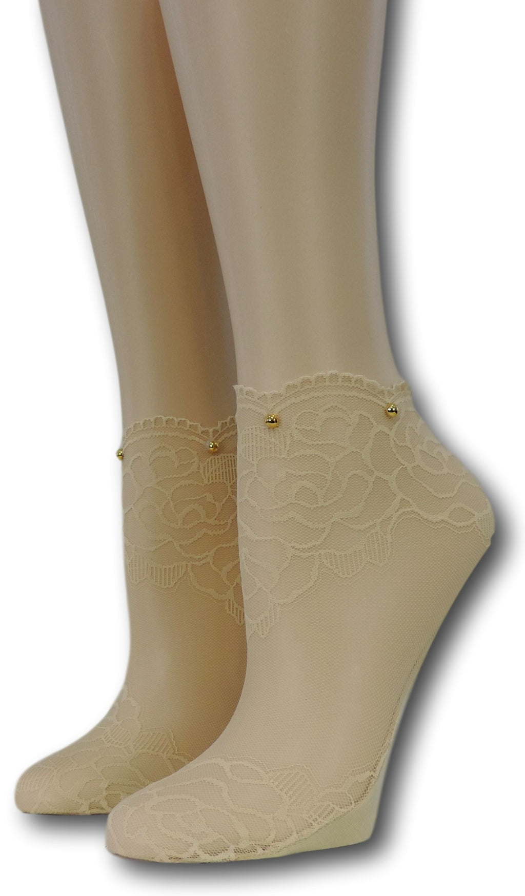 Beige Rose Ankle Sheer Socks with beads