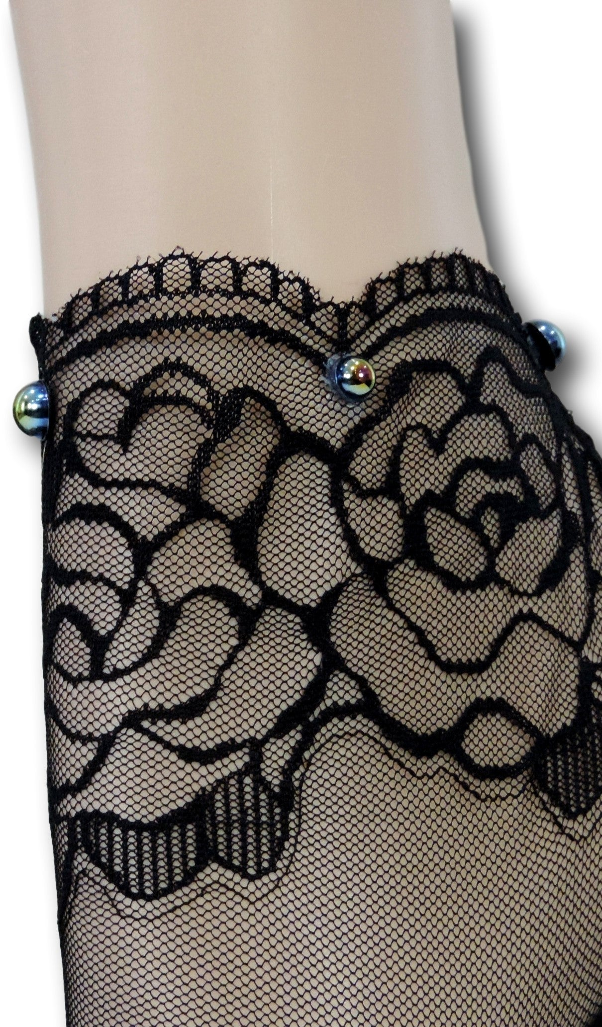 Black Rose Ankle Sheer Socks with beads