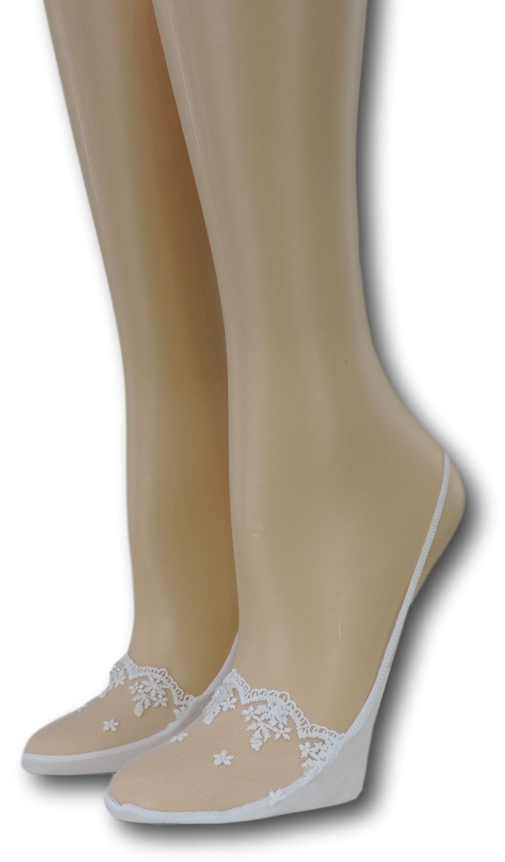 Slingback White Sheer Socks with beads