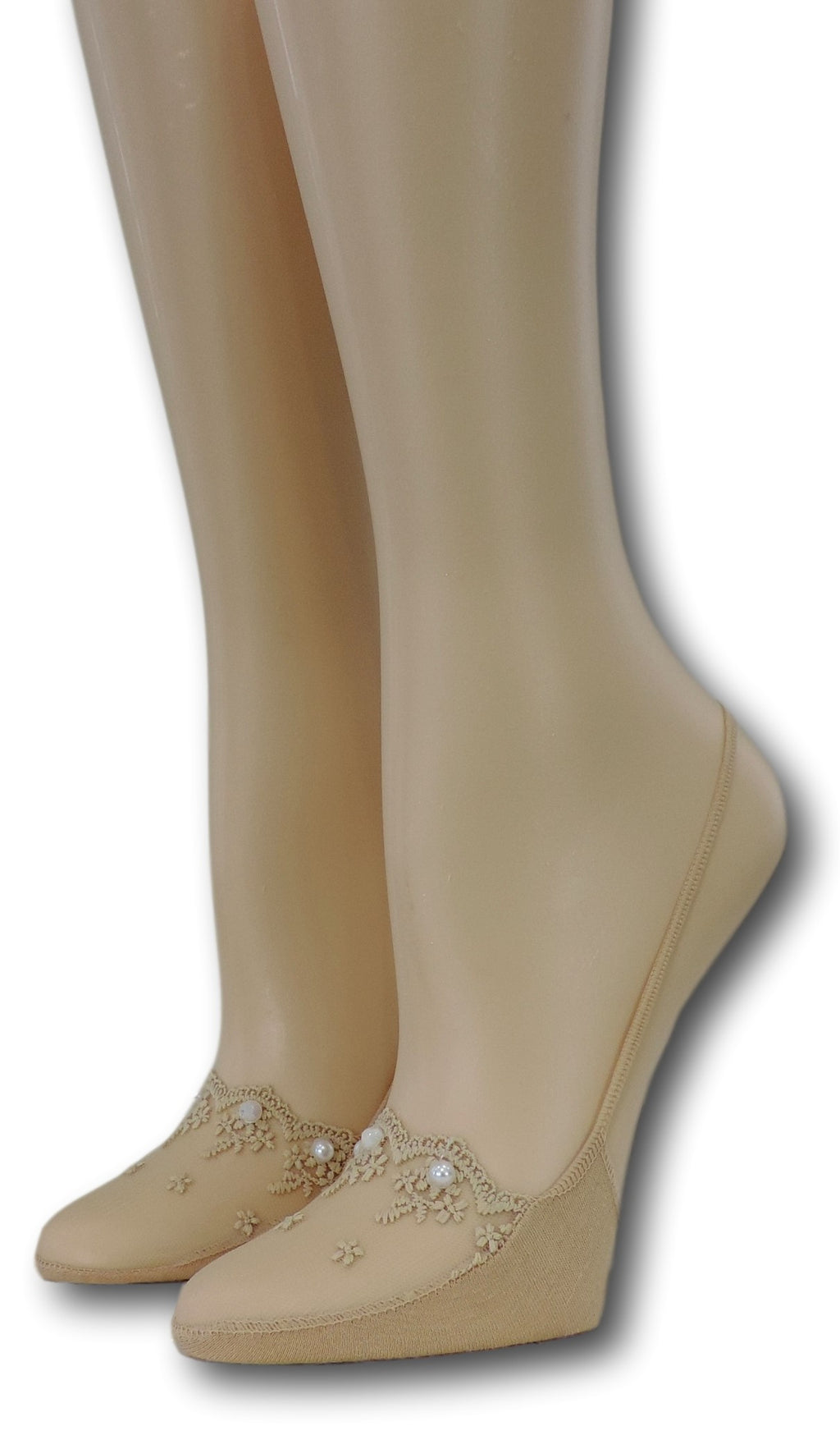 Fancy Slingback Beige Sheer Socks with beads