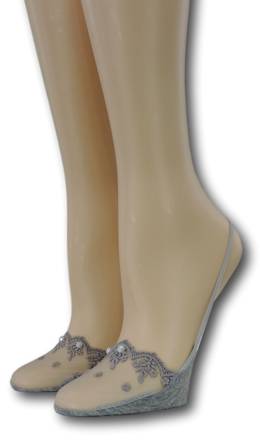 Fancy Slingback Grey Sheer Socks with beads
