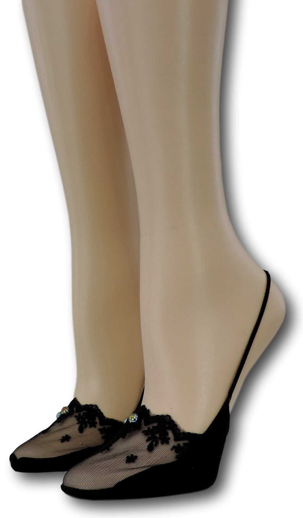 Slingback Black Sheer Socks with beads