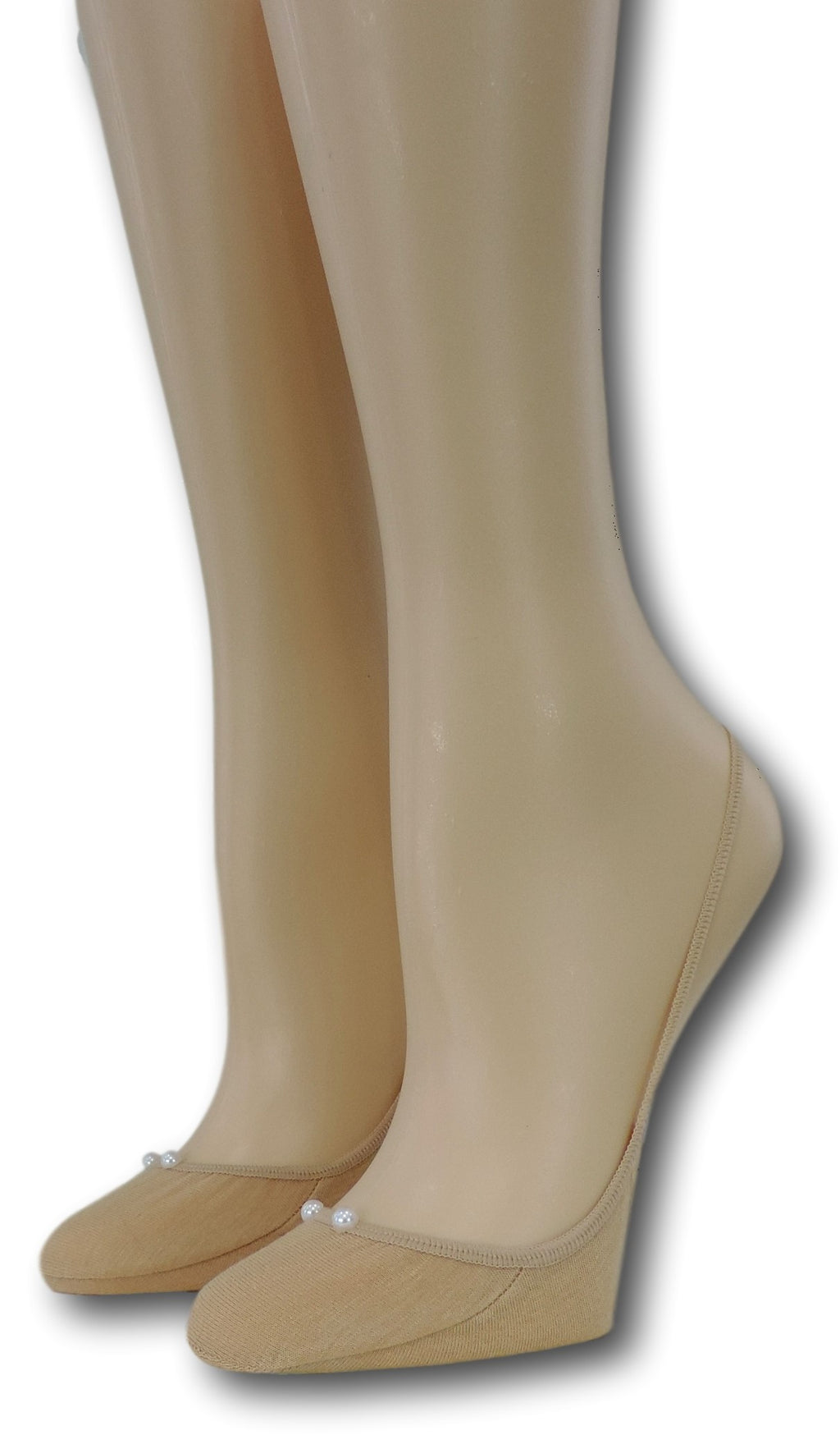 Slingback Beige Sheer Socks with beads