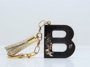 Black Floral Resin Keyring