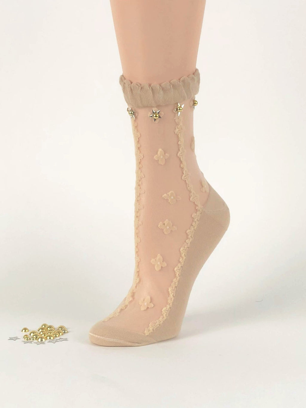 Pearled/Patterned Skin Sheer Socks - Global Trendz Fashion®