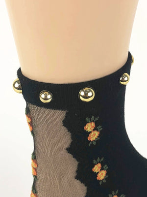 Pearled Mini Oranges Sheer Socks - Global Trendz Fashion®