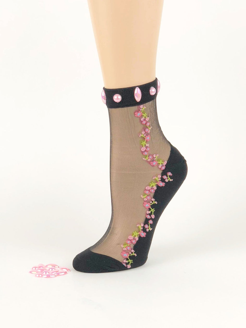 Mini Pink Flower Sheer Socks - Global Trendz Fashion®