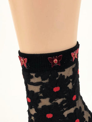 Gorgeous Red Dotted Sheer Socks - Global Trendz Fashion®