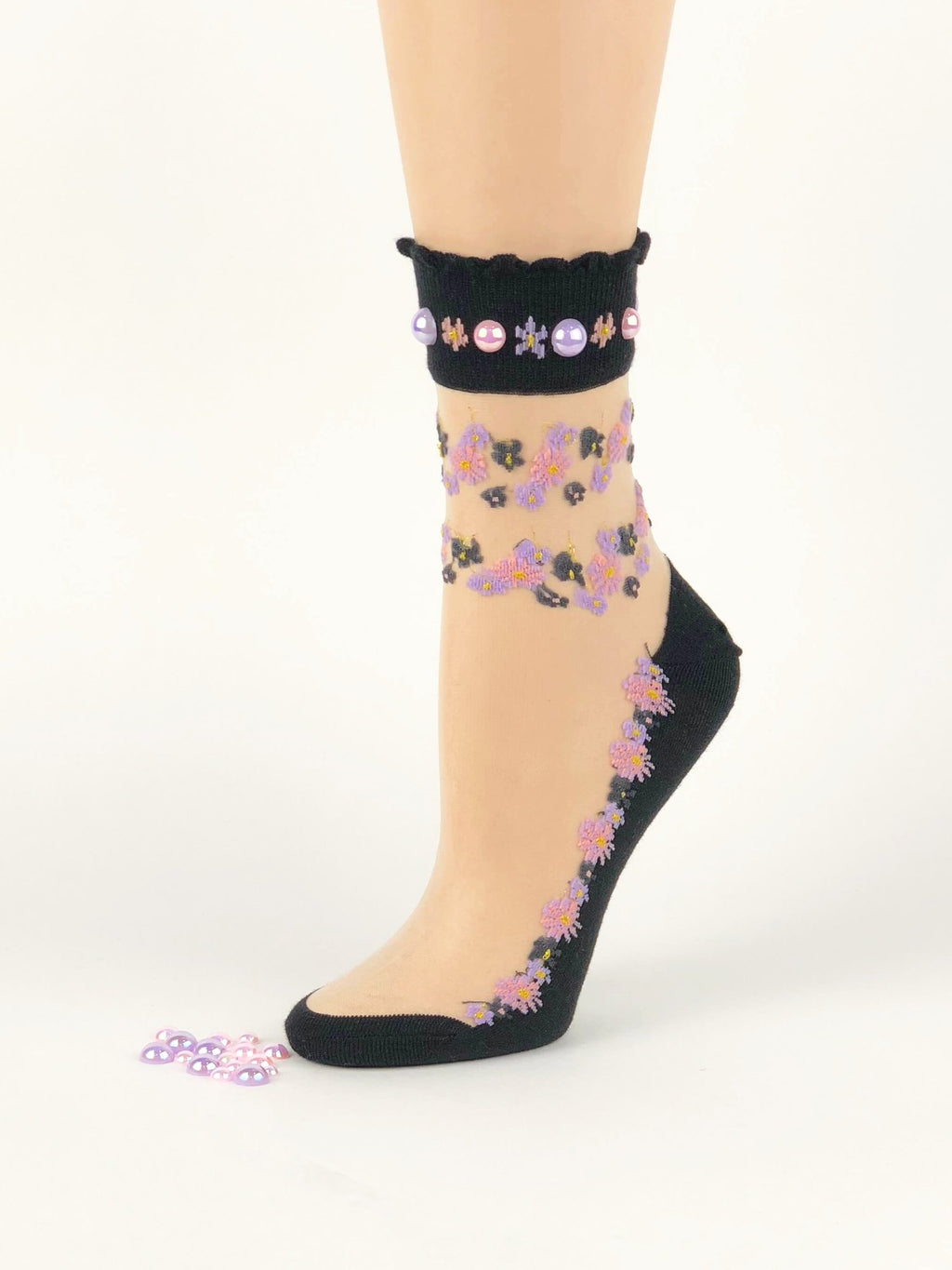 Stylish Pink/Purple Flower Sheer Socks - Global Trendz Fashion®