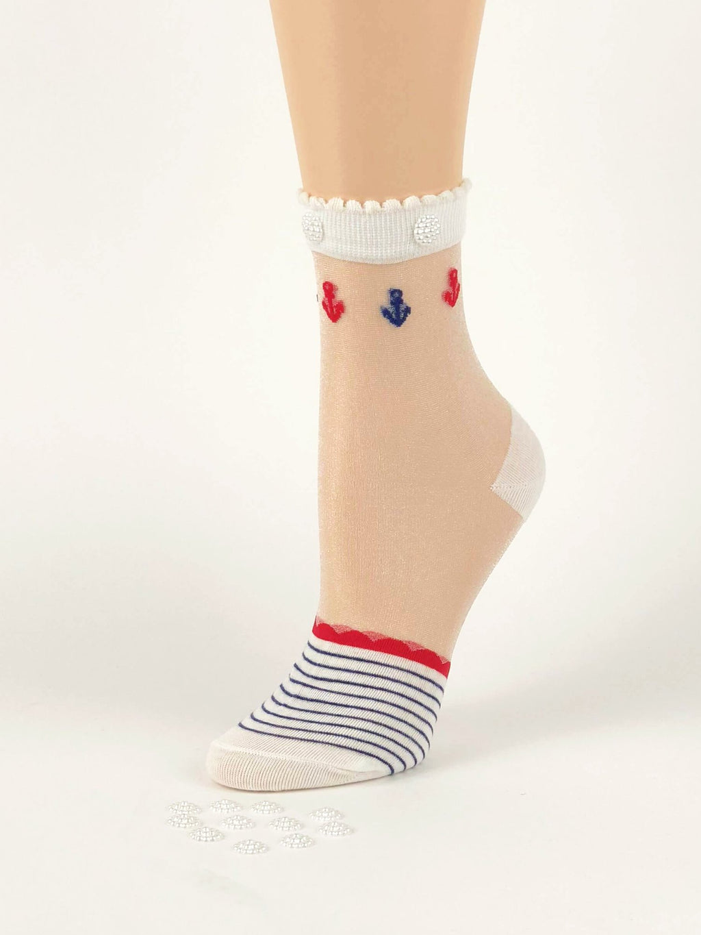 Stunning Blue/Red Stripped Sheer Socks - Global Trendz Fashion®
