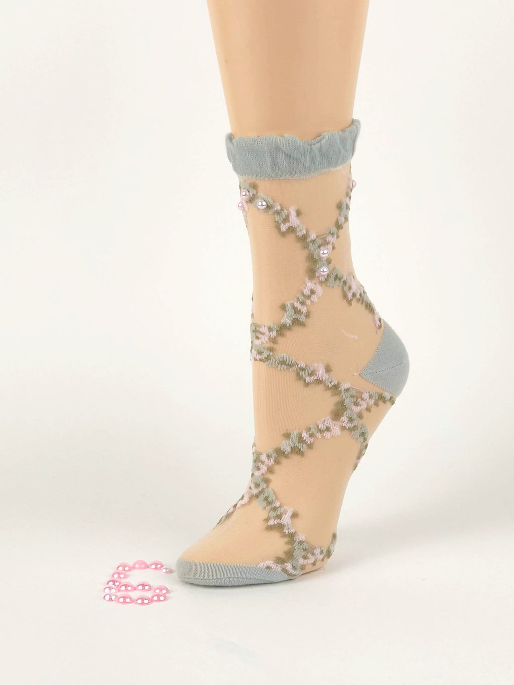 Pink/Grey Criss-Cross Sheer Socks - Global Trendz Fashion®