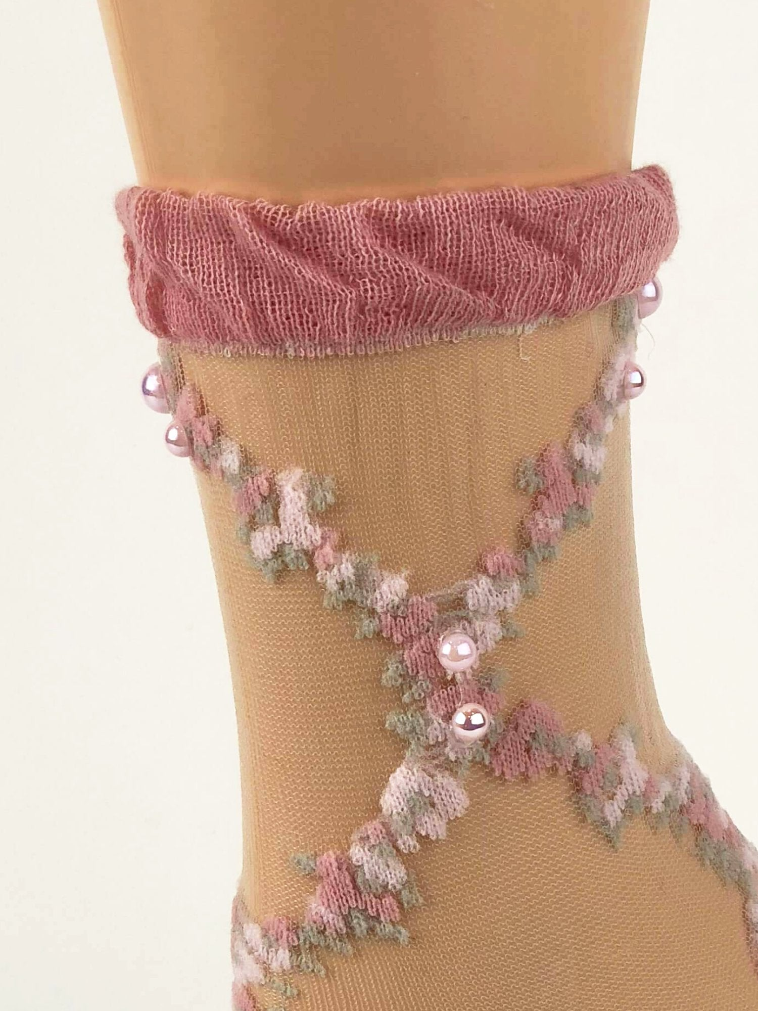 Pink/White Criss/Cross Patttern Sheer Socks - Global Trendz Fashion®