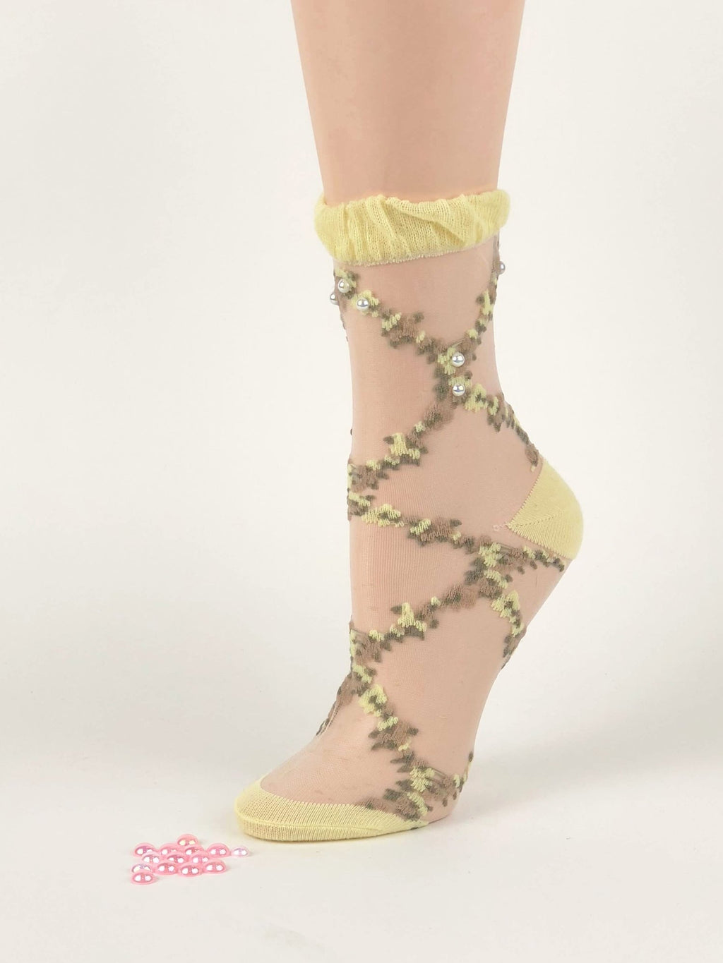 Green/Yellow One-Stripped Sheer Socks - Global Trendz Fashion®