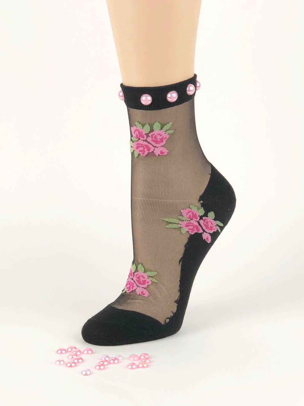 Charming Pink Pearl Flowers Sheer Socks - Global Trendz Fashion®